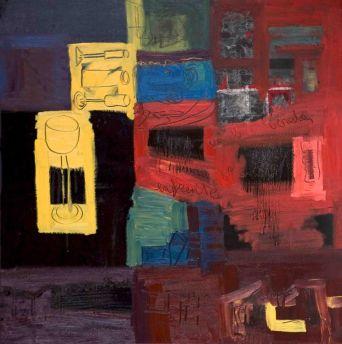 En la vereda de enfrente - Oil on canvas - 100 x 100 cm