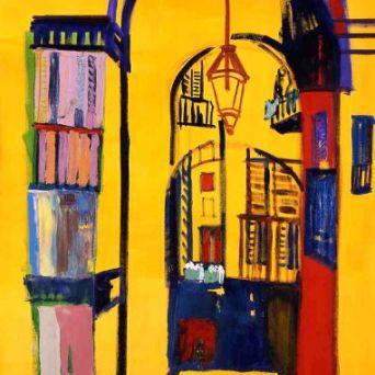 Plaça reial, Barcelona - Oil on canvas - 100 x 200 cm