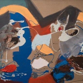 Untitled - Mixed media on jute - 130 x 100 cm